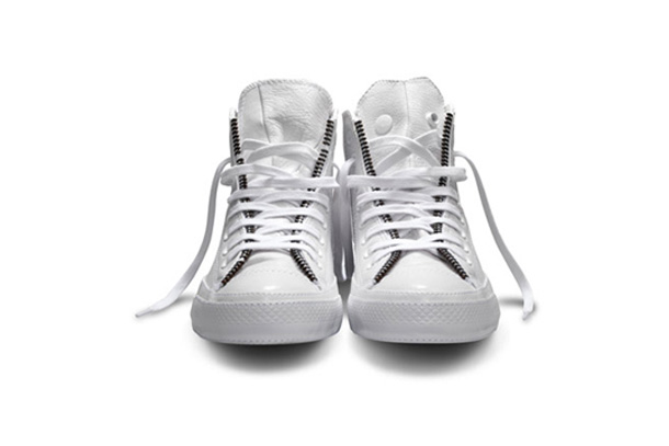 Schott NYC x Converse Chuck Taylor Hi Leather Jacket Blanc