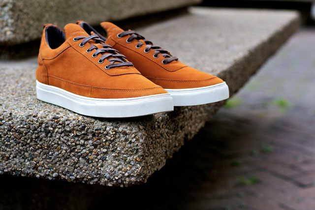 Filling Pieces Low Top Cognac Suede