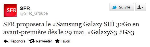 Samsung Galaxy SIII chez SFR